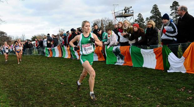 Linda Byrne, Ireland, in action during the Senior Women's event at the 16th SPAR European Cross Country Championships in Santry in 2009