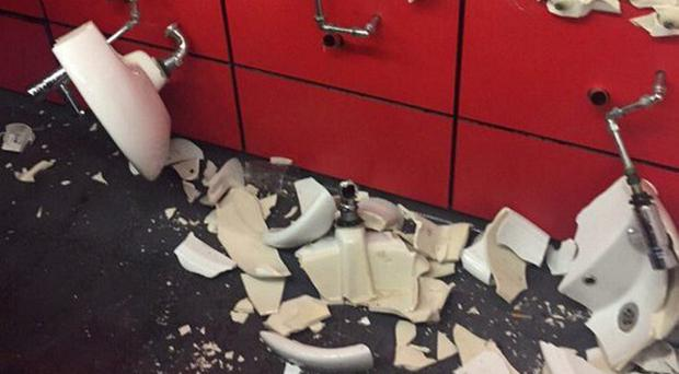 Urinals were allegedly ripped off the walls at Arsenal's Emirates Stadium by Spurs supporters