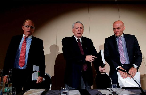 Richard W. Pound (C), World Anti-Doping Agency (WADA) Founding President and former IOC Vice President, Richard H. McLaren (L), Legal Counsel and member of the Court of Arbitration for Sport (CAS) and Guenter Younger, Head of Department Cybercrime with Bavarian Landeskriminalamt (LKA) leave a news conference on the WADA Independent Commission report on findings of investigation into allegations of widespread doping in sport in Geneva, Switzerland November 9, 2015. REUTERS/Denis Balibouse