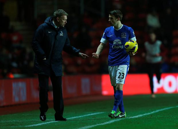 Former Everton boss David Moyes with Seamus Coleman