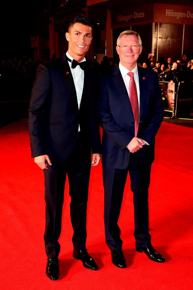 Cristiano Ronaldo and Alex Ferguson attending the world premiere of Ronaldo at Vue West End Cinema in Leicester Square, London. PRESS ASSOCIATION Photo. Picture date: Monday 9th November, 2015. Photo credit should read: Ian West/PA Wire