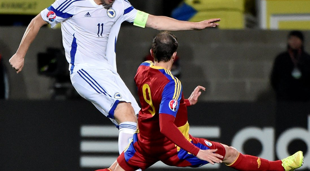 Edin Dzeko in action against Andorra during Bosnia's Euro 2016 qualifier. The Roma striker scored seven of their 17 goals during their campaign