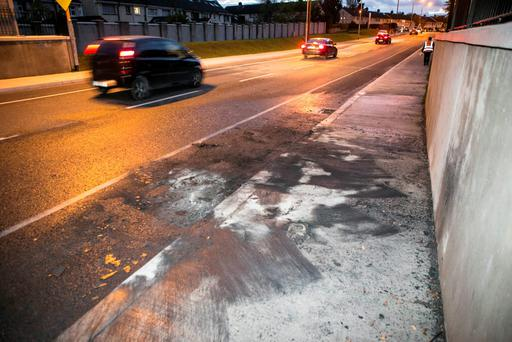 Scene of a car fire on Ratoath Rd Cabra this morning where a Garda was injured
