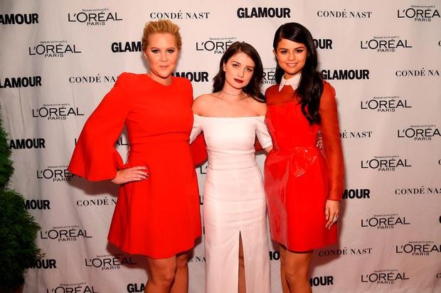 (L-R) Amy Schumer, Eve Hewson and Selena Gomez attend 2015 Glamour Women Of The Year Awards at Carnegie Hall on November 9, 2015 in New York City. (Photo by Jamie McCarthy/Getty Images for Glamour)
