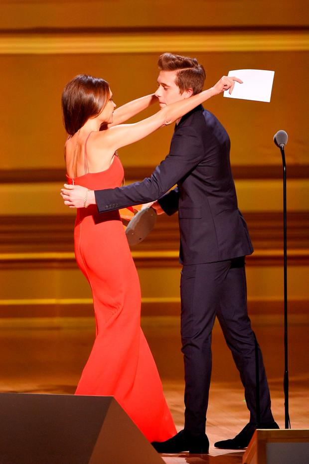 Designer Victoria Beckham (L) and Brooklyn Beckham onstage at the 2015 Glamour Women of the Year Awards on November 9, 2015 in New York City. (Photo by Larry Busacca/Getty Images for Glamour)