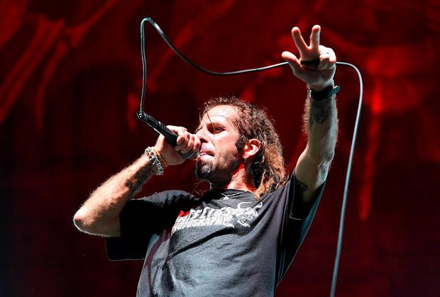 LAS VEGAS, NV - AUGUST 28: Singer Randy Blythe of Lamb of God performs at the Las Vegas Village on August 28, 2015 in Las Vegas, Nevada. (Photo by Ethan Miller/Getty Images)