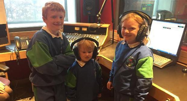 Fiachra's children were thrilled to visit the Beat 102-103 studio Credit:YouTube/Beat102-103