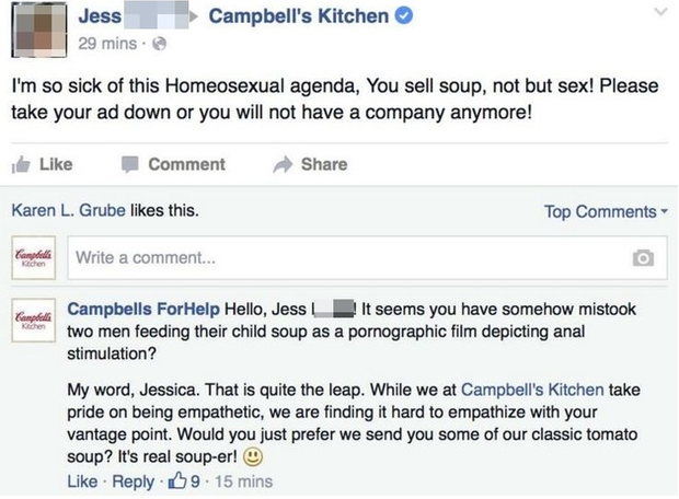 The comments made about Campbell's ad by a woman called Jess Credit:Facebook/Campbell's Kitchen
