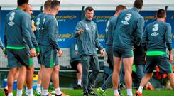 Roy Keane dispenses the orders at Republic of Ireland Squad Training, National Sports Campus, Abbotstown, Co. Dublin. Picture credit: David Maher / SPORTSFILE
