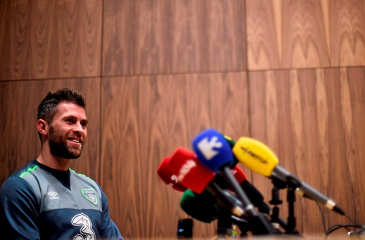 Republic of Ireland's Daryl Murphy during today's press conference. Picture credit: David Maher / SPORTSFILE