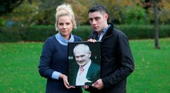 Maggie Bonner and her boyfriend Michael Jackson from Mayo with a photo of Maggie's father Frankie Bonner. In June 2014 Frankie Bonner (65) died when he was knocked down by his daughter Maggie's boyfriend. Photo: Gareth Chaney Collins