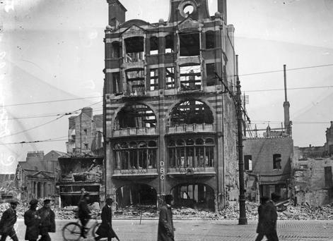 Ruins on what is now O'Connell Street, Dublin, after the 1916 Rising. The decades leading up to the Rising were a period of relative prosperity for those who didn't emigrate – despite the narrative of 'rich Britain subjugating poor Ireland'