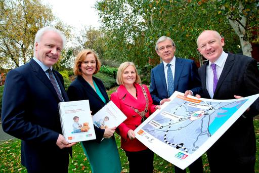 From left: Lorcan Birthistle, chief executive of St James's Hospital, Eilish Hardiman, CEO of the Children's Hospital Group, Dublin Lord Mayor Críona Ní Dhálaigh, Gordon Jeyes, independent chair, and project director John Pollock. Photo: Maxwells