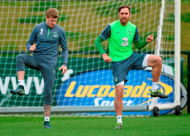 James McClean and Richard Keogh go through their paces in training in Abbotstown