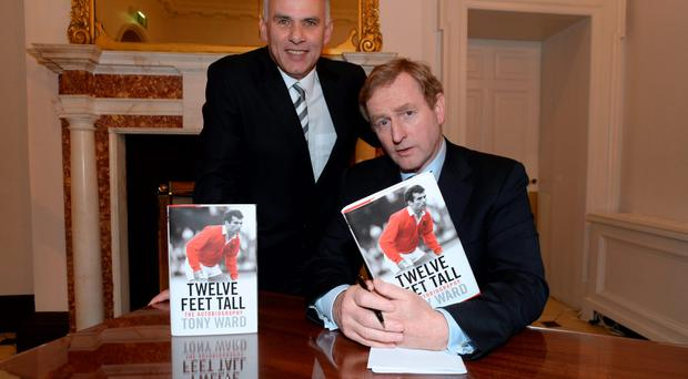 Tony Ward with Taoiseach Enda Kenny at his book launch in the Merrion Hotel, Dublin