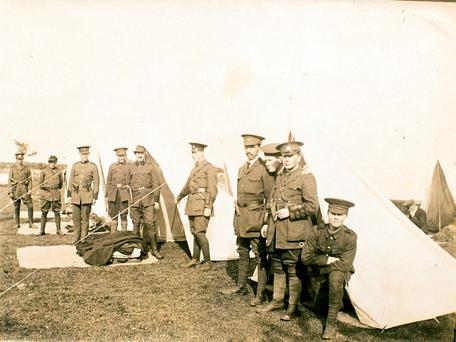 Irish Volunteers officers at a training camp in summer, 1915. Left to right: Terence MacSwiney, Richard Mulcahy, Michael O'Buachalla, John Brennan, JJ O'Connell, Peter Paul Galligan, Mick Spillane, Dick Fitzgerald, Gardner and Mick Cremen.
