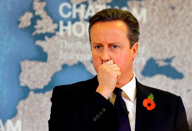 David Cameron thinks during a question and answer session after delivering his speech
