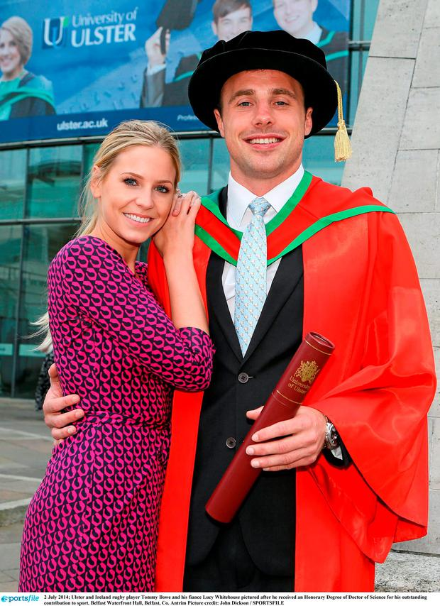 Tommy Bowe when he received an Honorary Doctor of Science degree in Belfast in 2014