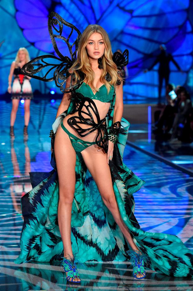 Model Gigi Hadid from California walks the runway during the 2015 Victoria's Secret Fashion Show at Lexington Avenue Armory on November 10, 2015 in New York City. (Photo by Dimitrios Kambouris/Getty Images for Victoria's Secret)