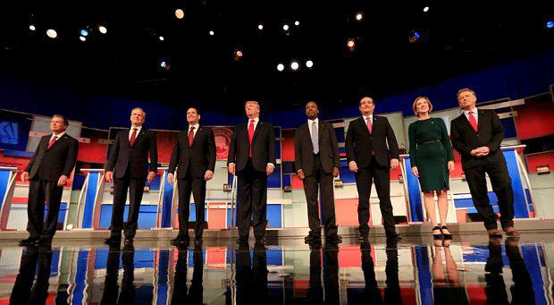 The Republican hopefuls line up on stage ahead of the debate