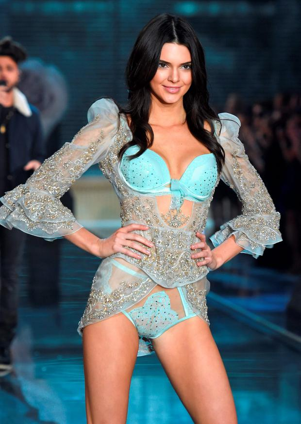 Model Kendall Jenner from California walks the runway during the 2015 Victoria's Secret Fashion Show at Lexington Avenue Armory on November 10, 2015 in New York City. (Photo by Dimitrios Kambouris/Getty Images for Victoria's Secret)