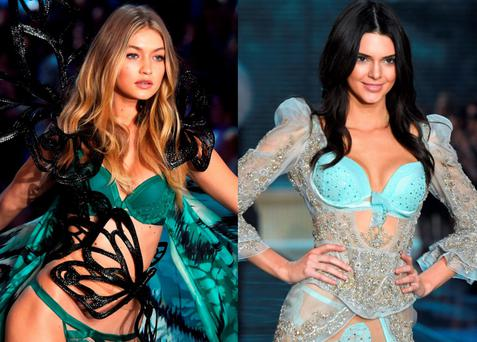Gigi Hadid and Kendall Jenner walking the Victoria's Secret Fashion Show 2015