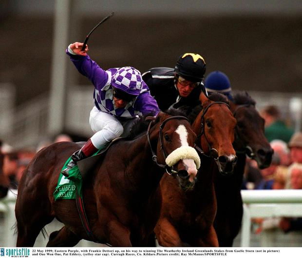 22 May 1999; Eastern Purple, with Frankie Dettori up, on his way to winning The Weatherby Ireland Greenlands Stakes from Gaelic Storn (not in picture) and One Won One, Pat Eddery, (yelloy star cap). Curragh Races, Co. Kildare. Picture credit; Ray McManus/SPORTSFILE