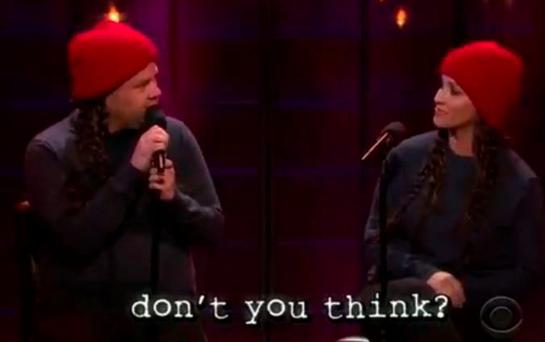 James Corden and Alanis Morissette sing 'Ironic' on The Late Late Show