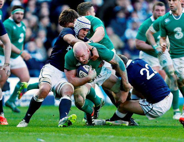 Paul O'Connell in action for Ireland against Scotland in the final match of the Six Nations this year