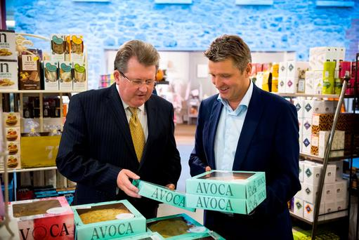 President of Aramark's Irish Operations, Donal O'Brien, and Simon Pratt, managing director of Avoca, at the Avoca Café in Malahide Castle