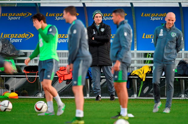 Ireland manager Martin O'Neill watches squad training in Abbotstown ahead of tomorrow's Euro 2016 play-off first leg clash with Bosnia-Herzegovina