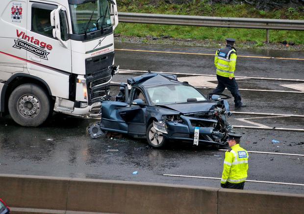 The scene of a crash between a car and a lorry on the M50 at Junction 7 Southbound