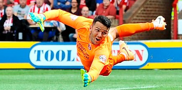 Stephen Henderson Of Charlton Athletic makes a save during the Sky Bet Championship match between Brentford and Charlton Athletic