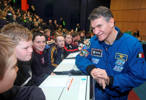 Astronaut Paolo Nespoli addresses secondary school pupils at GMIT