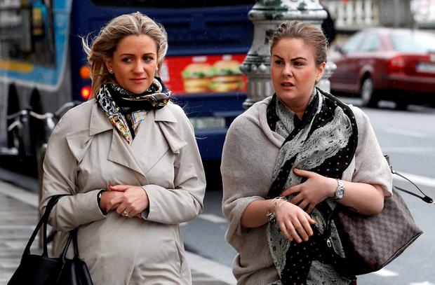Cassandra Reddin and Aine Maher leave court yesterday