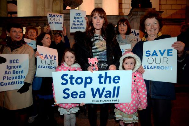 Stop the Wall/Save our Seafront protestors outside City Hall
