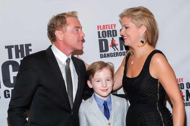 (L-R) Dancer/choreographer Michael Flatley, son Michael St. James Flatley and wife Niamh O'Brien attend the