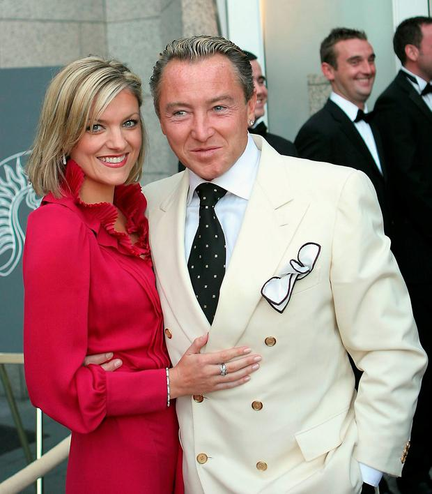 Michael Flatley and his girlfriend Niamh O'Brien attend the Tenth Anniversary of Lord of The Dance at the Four Seasons Hotel, on June 4, 2006 in Dublin, Ireland. (Photo by ShowBizIreland/Getty Images)