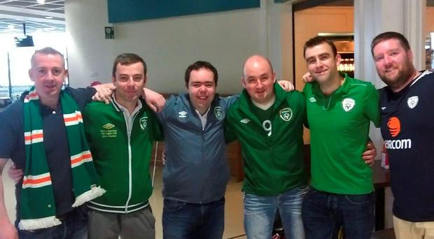 Ireland fans (left to right) Fergal O'Connell, Shaun Paul O'Shaughnessy, Derek Sage, Anton Murtagh, John O'Neill and Graham Hayes