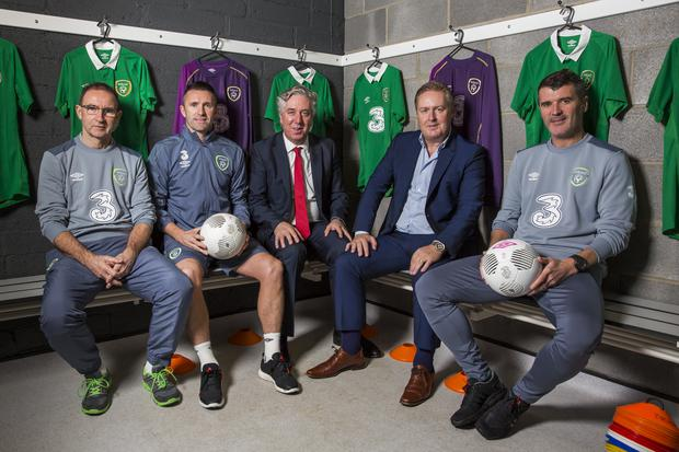 Three's Robert Finnegan with FAI's John Delaney, Roy Keane, Robbie Keane, and Martin O'Neill at Three's announcement today of the renewal of its partnership with the Republic of Ireland football team and all international squads, pledging support to Irish football until 2020 in a deal worth €8.9 million.