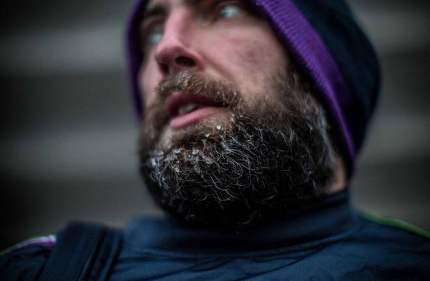 Connacht forward John Muldoon pictured in the freezing Russian weather today. Pic credit: Twitter/@JohnMuldoon8