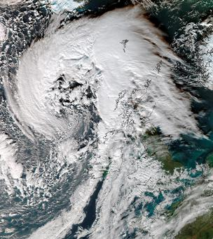 Handout satellite image issued by the University of Dundee, taken at 12:45pm today, showing Storm Abigaill which is set to sweep across Scotland. Photo: University of Dundee/NEODAAS/PA Wire