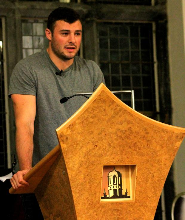 Robbie Henshaw spoke to recipients of the NUI Galway Scholarships for Sporting and Academic Excellence about his own career and studies