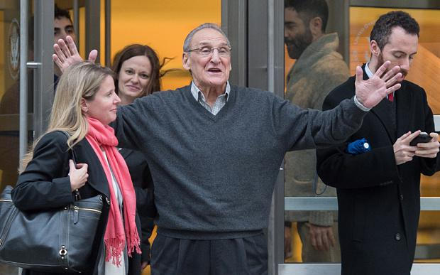 Vincent Asaro leaves Brooklyn federal court after being acquitted of the legendary 1978 Lufthansa heist retold in the hit film