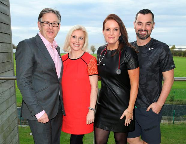 News series of Rte's Operation Transformation The Experts: Dr Eddie Murphy,Dietician Aoife Hearne,Dr Ciara Kelly and Fitness Guru Karl Henry at Sports Link Santry Dublin Picture Brian McEvoy No Repro fee for one use