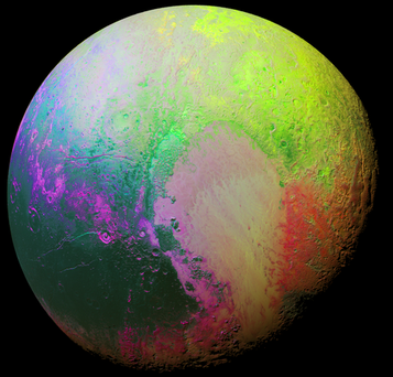 NASA have released this false colour image of Pluto Credit:Twitter/NASANewHorizons