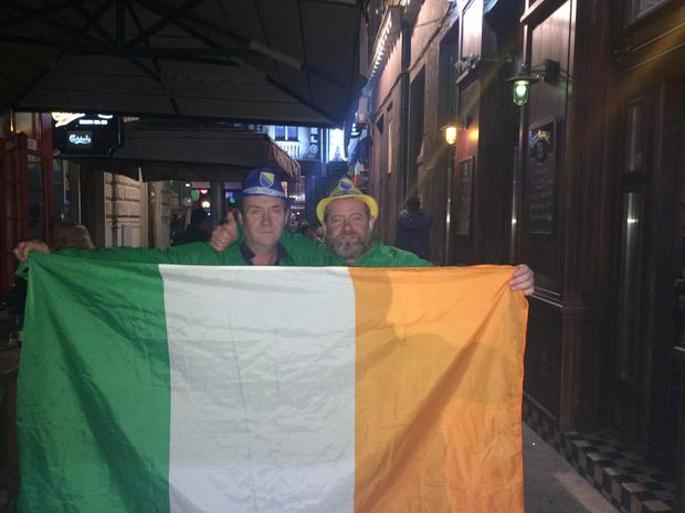 Irish fans in Sarajevo Jimmy Corroon (Mullingar) and Fergal O'Neill (Limerick)
