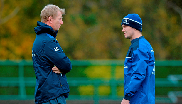 Leinster head coach Leo Cullen with Jonathan Sexton during squad training