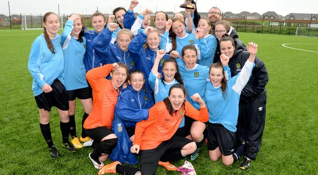 08/11/15. Leinster Senior Girls celebrateing winning the Girls Senior Interprovincial Final against Munster at Ashbourne Utd FC. Pic: Justin Farrelly.