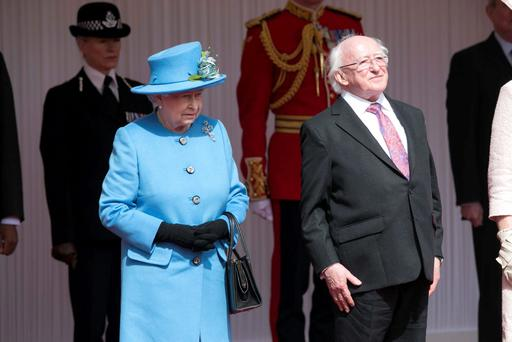 Good neighbours: President Michael D Higgins with Queen Elizabeth during his state visit to the UK in 2014.